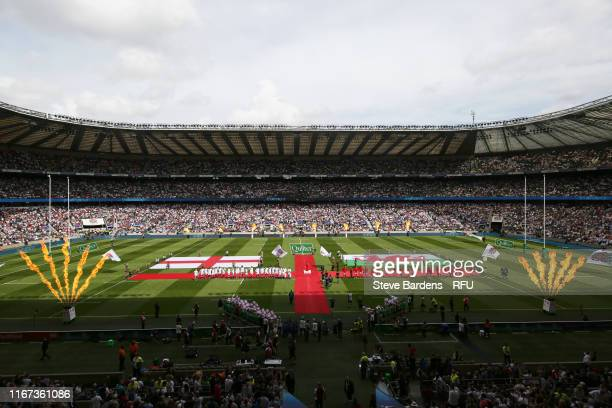 General view inside the stadium prior to the 2019 Quilter International match between England and Wales at Twickenham Stadium on August 11 2019 in...