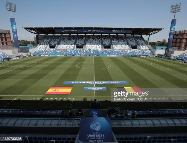 General view inside the stadium prior to the 2019 UEFA U-21 Group A match between Spain and Belgium at Stadio Citta del Tricolore on June 19, 2019 in...