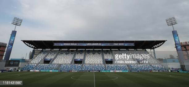 General view inside the stadium prior to the 2019 UEFA U-21 Group A match between Belgium and Italy at Stadio Citta del Tricolore on June 22, 2019 in...