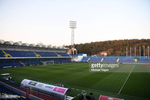 General view inside the stadium prior to the 2020 UEFA European Championships Group A qualifying match between Montenegro and England at Podgorica...