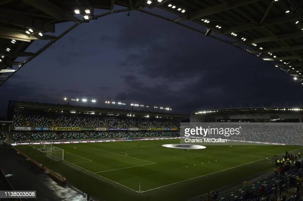 General view inside the stadium prior to the 2020 UEFA European Championships Group C qualifying match between Northern Ireland and Belarus at...
