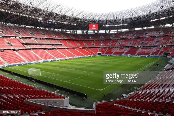 General view inside the stadium prior to the 2022 FIFA World Cup Qualifier match between Hungary and England at Stadium Puskas Ferenc on September...