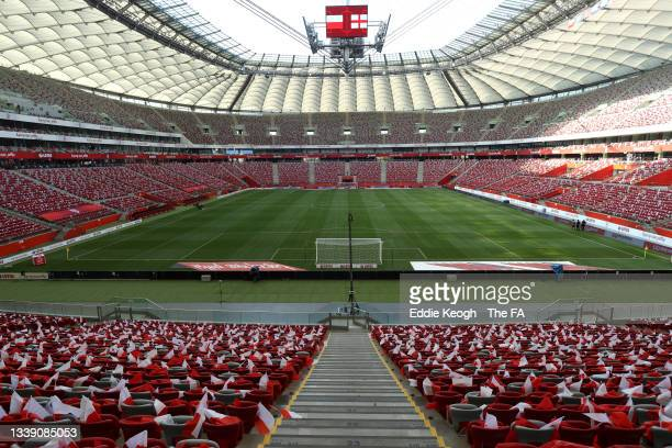 General view inside the stadium prior to the 2022 FIFA World Cup Qualifier match between Poland and England at Stadion Narodowy on September 08, 2021...