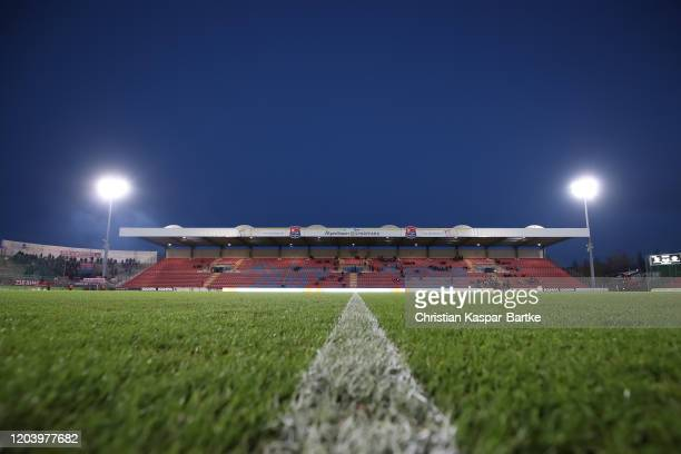General view inside the stadium prior to the 3. Liga match between SpVgg Unterhaching and Bayern Muenchen II at Alpenbauer Sportpark on February 28,...
