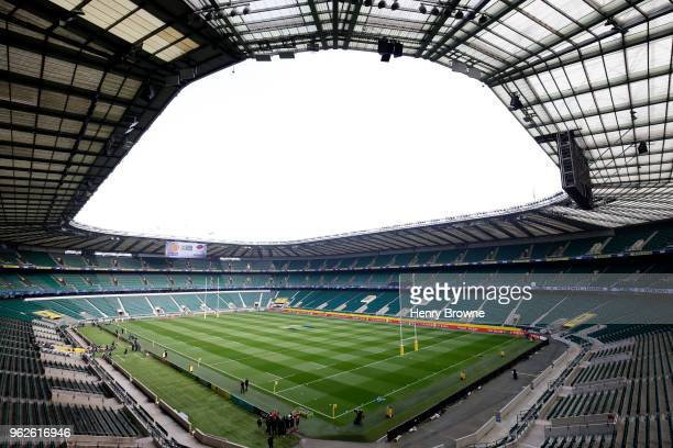 A general view inside the stadium prior to the Aviva Premiership Final between Saracens and Exeter Chiefs at Twickenham Stadium on May 26 2018 in...