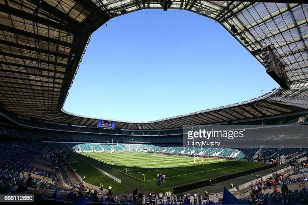 A general view inside the stadium prior to the Aviva Premiership match between Bath Rugby and Leicester Tigers at Twickenham Stadium on April 8 2017...