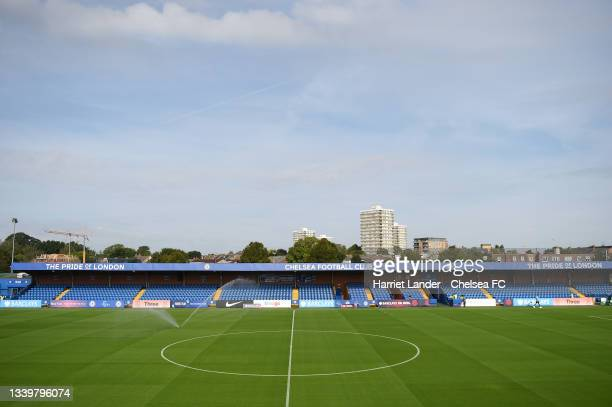 General view inside the stadium prior to the Barclays FA Women's Super League match between Chelsea Women and Everton Women at Kingsmeadow on...