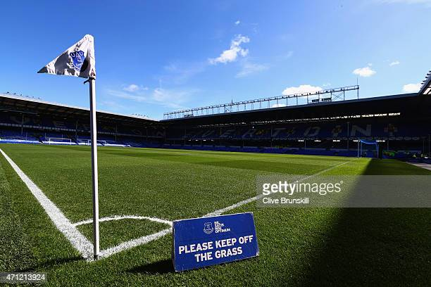 A general view inside the stadium prior to the Barclays Premier League match between Everton and Manchester United at Goodison Park on April 26 2015...