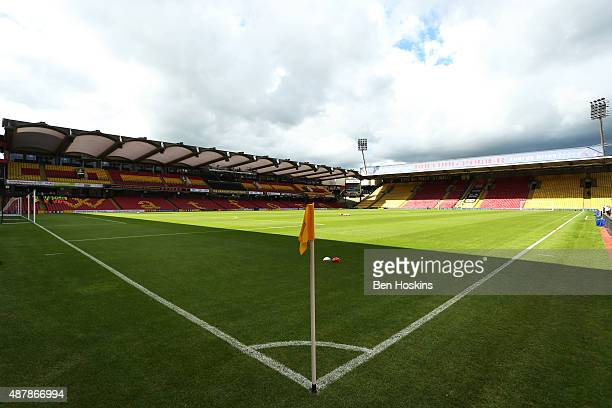 A general view inside the stadium prior to the Barclays Premier League match between Watford and Swansea City at Vicarage Road on September 12 2015...