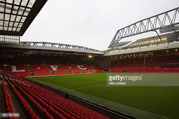 A general view inside the stadium prior to the Barclays Premier League match between Liverpool and West Bromwich Albion at Anfield on December 13...
