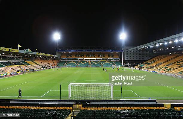 A general view inside the stadium prior to the Barclays Premier League match between Norwich City and Tottenham Hotspur at Carrow Road on February 2...