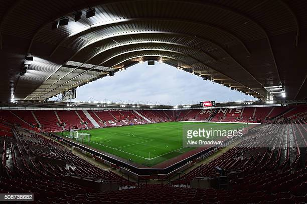 A general view inside the stadium prior to the Barclays Premier League match between Southampton and West Ham United at St Mary's Stadium on February...