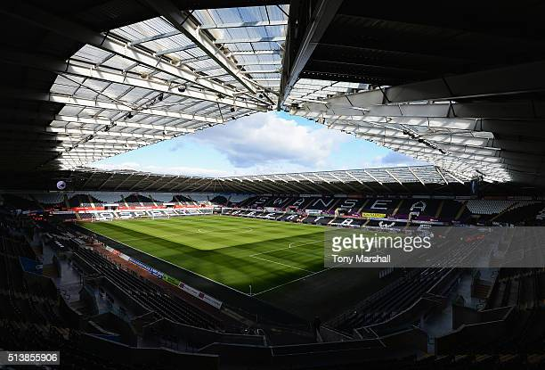 A general view inside the stadium prior to the Barclays Premier League match between Swansea City and Norwich City at Liberty Stadium on March 5 2016...