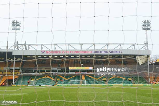 A general view inside the stadium prior to the Barclays Premier League match between Norwich City and Manchester City at Carrow Road on March 12 2016...