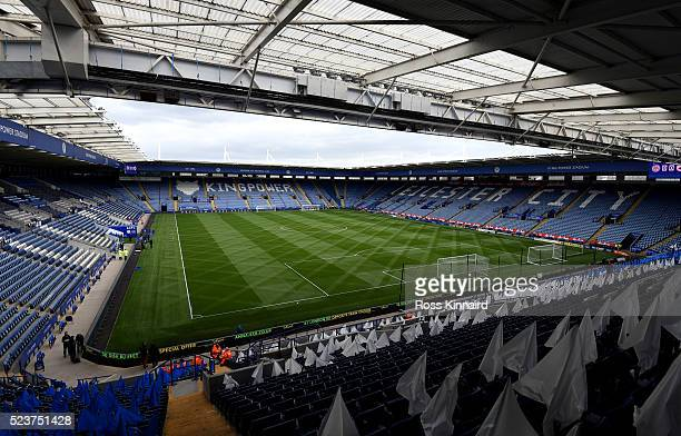 A general view inside the stadium prior to the Barclays Premier League match between Leicester City and Swansea City at The King Power Stadium on...