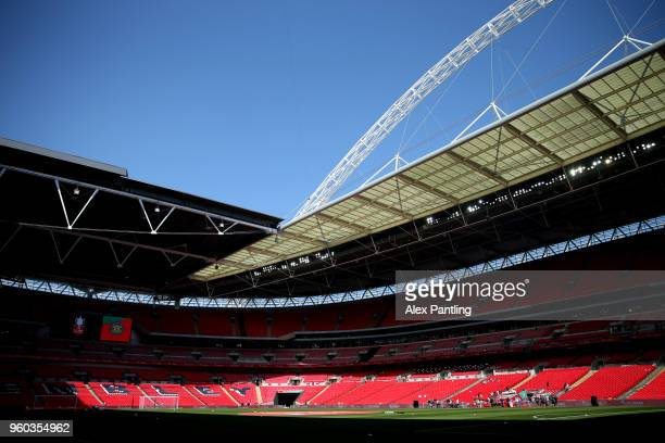 A general view inside the stadium prior to the Buildbase FA Vase Final between Stockton Town and Thatcham Town at Wembley Stadium on May 20 2018 in...