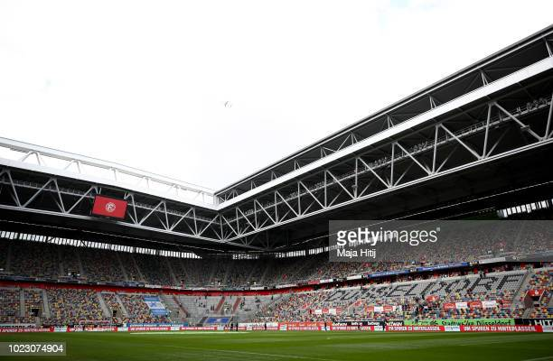 General view inside the stadium prior to the Bundesliga match between Fortuna Duesseldorf and FC Augsburg at Merkur SpielArena on August 25 2018 in...