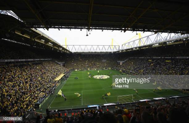 General view inside the stadium prior to the Bundesliga match between Borussia Dortmund and RB Leipzig at Signal Iduna Park on August 26 2018 in...