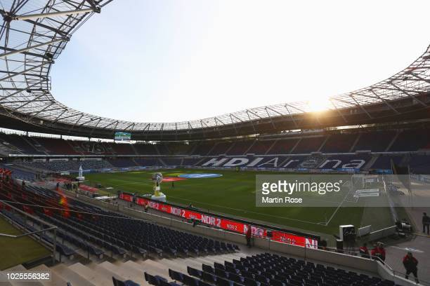 General view inside the stadium prior to the Bundesliga match between Hannover 96 and Borussia Dortmund at HDIArena on August 31 2018 in Hanover...