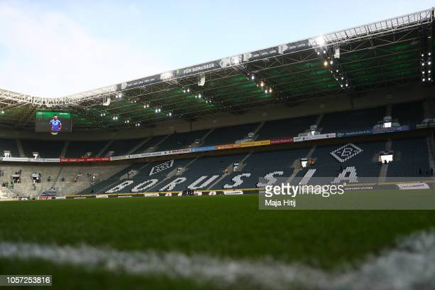A general view inside the stadium prior to the Bundesliga match between Borussia Moenchengladbach and Fortuna Duesseldorf at BorussiaPark on November...