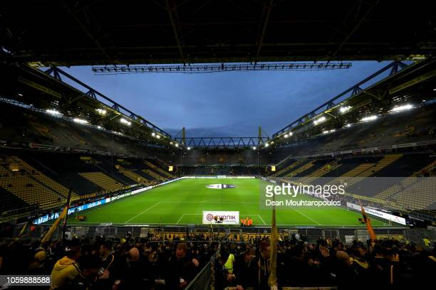 General view inside the stadium prior to the Bundesliga match between Borussia Dortmund and FC Bayern Muenchen at Signal Iduna Park on November 10...