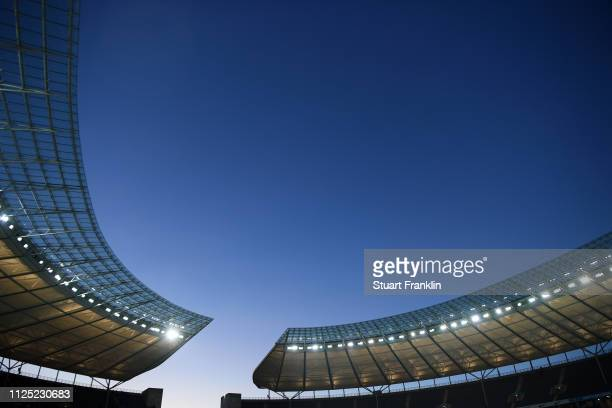 General view inside the stadium prior to the Bundesliga match between Hertha BSC and SV Werder Bremen at Olympiastadion on February 16, 2019 in...