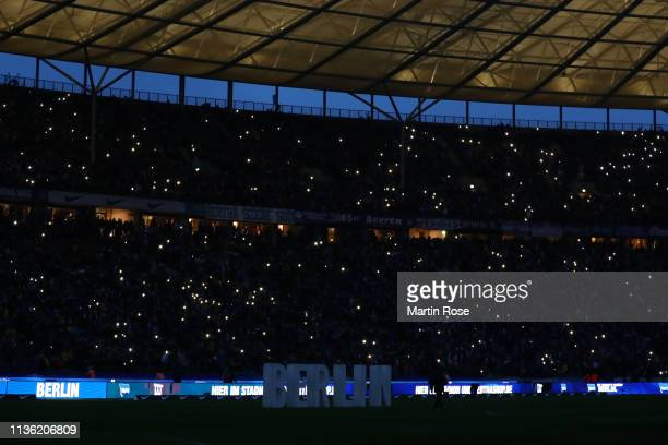 General view inside the stadium prior to the Bundesliga match between Hertha BSC and Borussia Dortmund at Olympiastadion on March 16 2019 in Berlin...