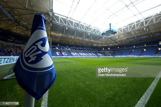 General view inside the stadium prior to the Bundesliga match between FC Schalke 04 and Eintracht Frankfurt at Veltins-Arena on April 06, 2019 in...