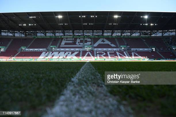 General view inside the stadium prior to the Bundesliga match between FC Augsburg and VfB Stuttgart at WWK-Arena on April 20, 2019 in Augsburg,...