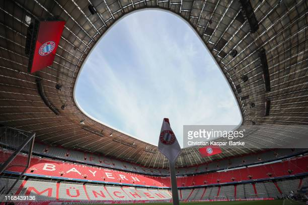 General view inside the stadium prior to the Bundesliga match between FC Bayern Muenchen and Hertha BSC at Allianz Arena on August 16 2019 in Munich...