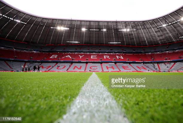 A general view inside the stadium prior to the Bundesliga match between FC Bayern Muenchen and TSG 1899 Hoffenheim at Allianz Arena on October 05...