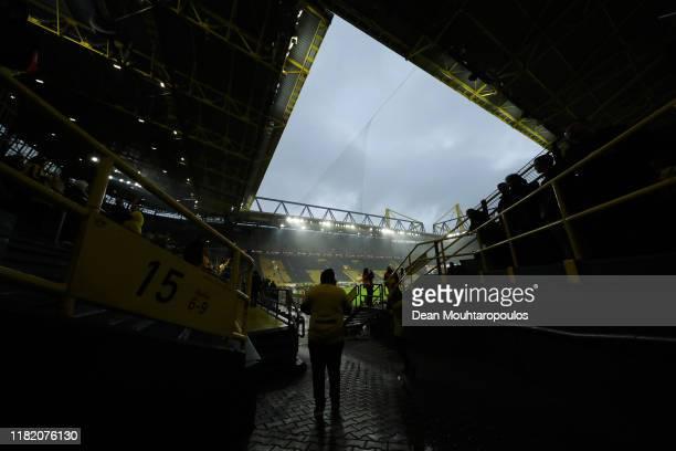 General view inside the stadium prior to the Bundesliga match between Borussia Dortmund and Borussia Moenchengladbach at Signal Iduna Park on October...