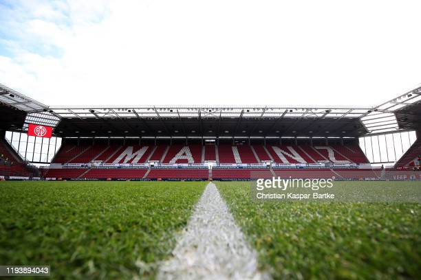 General view inside the stadium prior to the Bundesliga match between 1. FSV Mainz 05 and Borussia Dortmund at Opel Arena on December 14, 2019 in...