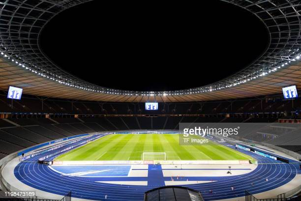 General view inside the stadium prior to the Bundesliga match between Hertha BSC and FC Schalke 04 at Olympiastadion on January 31, 2020 in Berlin,...