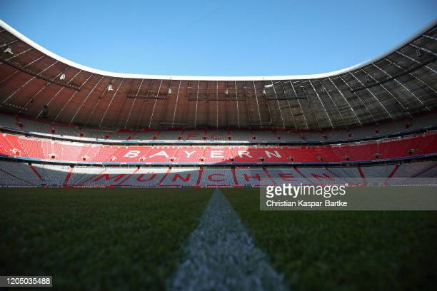 General view inside the stadium prior to the Bundesliga match between FC Bayern Muenchen and RB Leipzig at Allianz Arena on February 09, 2020 in...