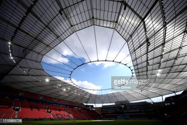 General view inside the stadium prior to the Bundesliga match between Bayer 04 Leverkusen and Eintracht Frankfurt at BayArena on March 07, 2020 in...