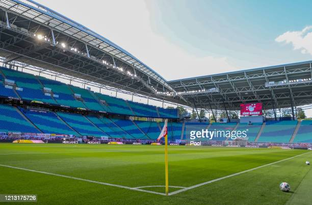 General view inside the stadium prior to the Bundesliga match between RB Leipzig and Sport-Club Freiburg at Red Bull Arena on May 16, 2020 in...