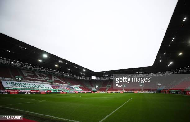 General view inside the stadium prior to the Bundesliga match between FC Augsburg and 1. FC Koeln at WWK-Arena on June 7, 2020 in Augsburg, Germany.