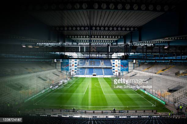 General view inside the stadium prior to the Bundesliga match between DSC Arminia Bielefeld and 1 FC Köln at Schueco Arena on September 26 2020 in...