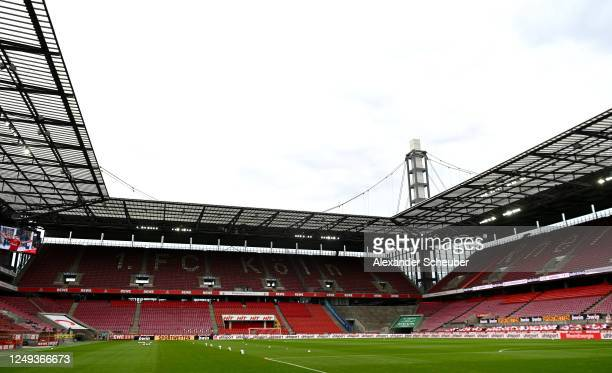 General view inside the stadium prior to the Bundesliga match between 1. FC Koeln and 1. FC Union Berlin at RheinEnergieStadion on June 13, 2020 in...