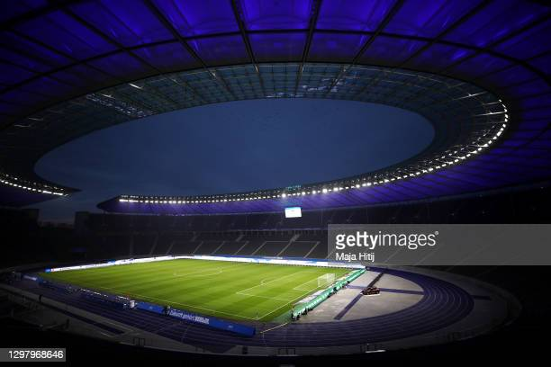 General view inside the stadium prior to the Bundesliga match between Hertha BSC and SV Werder Bremen at Olympiastadion on January 23, 2021 in...