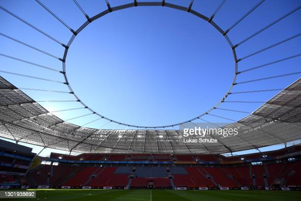 General view inside the stadium prior to the Bundesliga match between Bayer 04 Leverkusen and 1. FSV Mainz 05 at BayArena on February 13, 2021 in...