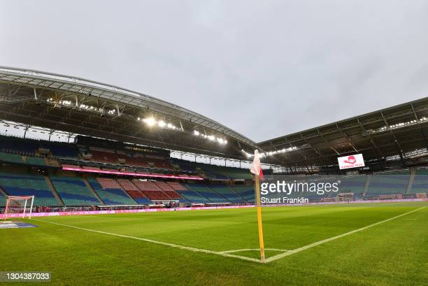 General view inside the stadium prior to the Bundesliga match between RB Leipzig and Borussia Moenchengladbach at Red Bull Arena on February 27, 2021...