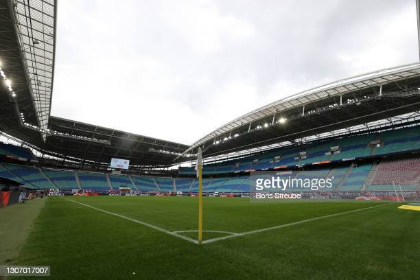 General view inside the stadium prior to the Bundesliga match between RB Leipzig and Eintracht Frankfurt at Red Bull Arena on March 14, 2021 in...