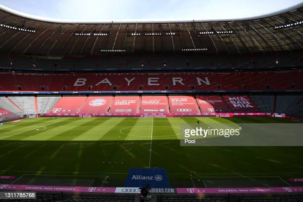 General view inside the stadium prior to the Bundesliga match between FC Bayern Muenchen and 1. FC Union Berlin at Allianz Arena on April 10, 2021 in...