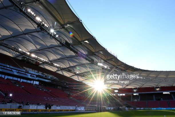 General view inside the stadium prior to the Bundesliga match between VfB Stuttgart and FC Augsburg at Mercedes-Benz Arena on May 07, 2021 in...