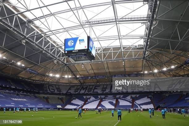 General view inside the stadium prior to the Bundesliga match between FC Schalke 04 and Hertha BSC at Veltins-Arena on May 12, 2021 in Gelsenkirchen,...