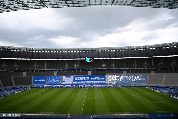 General view inside the stadium prior to the Bundesliga match between Hertha BSC and 1. FC Koeln at Olympiastadion on May 15, 2021 in Berlin,...