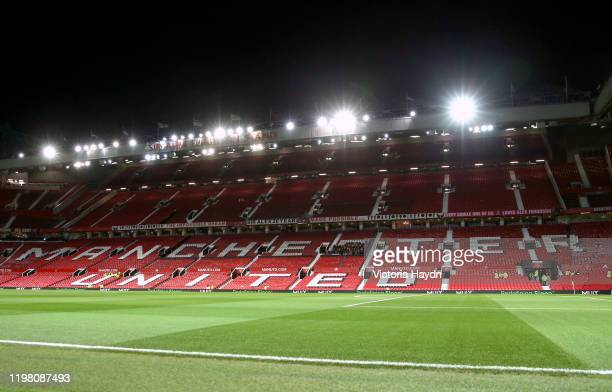 General view inside the stadium prior to the Carabao Cup Semi Final match between Manchester United and Manchester City at Old Trafford on January...
