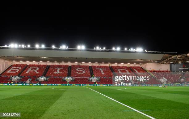 General view inside the stadium prior to the Carabao Cup semifinal second leg match between Bristol City and Manchester City at Ashton Gate on...